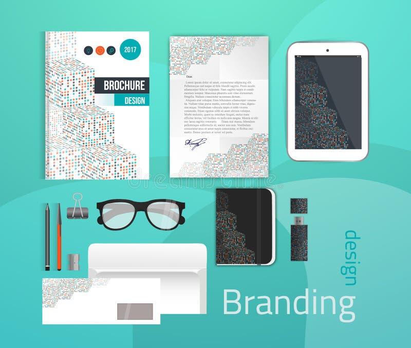 Εταιρικό σύνολο προτύπων ταυτότητας Πρότυπο επιχειρησιακών χαρτικών για το μαρκάρισμα του σχεδίου ελεύθερη απεικόνιση δικαιώματος