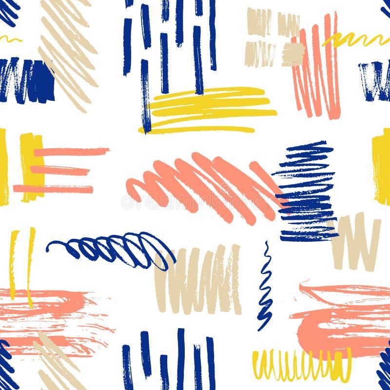 Ετερόκλητο άνευ ραφής σχέδιο με την κακογραφία και το χρώμα splotches ή smudges στο άσπρο υπόβαθρο Δονούμενο σκηνικό με ζωηρόχρωμ διανυσματική απεικόνιση