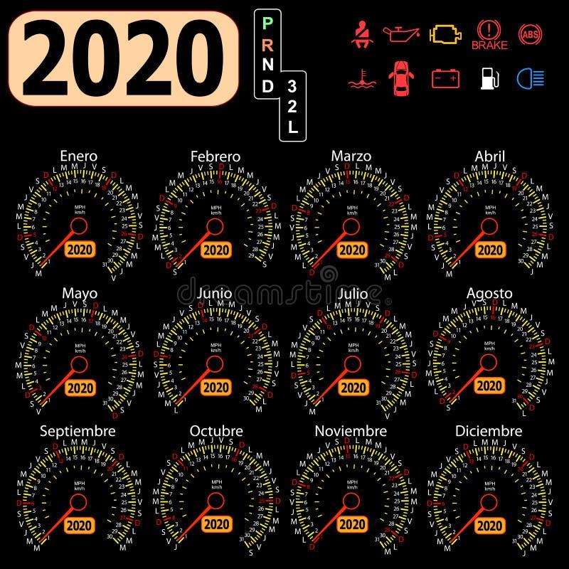 2020 ετησίως αυτοκίνητο ημερολογιακών ταχυμέτρων στα ισπανικά διανυσματική απεικόνιση