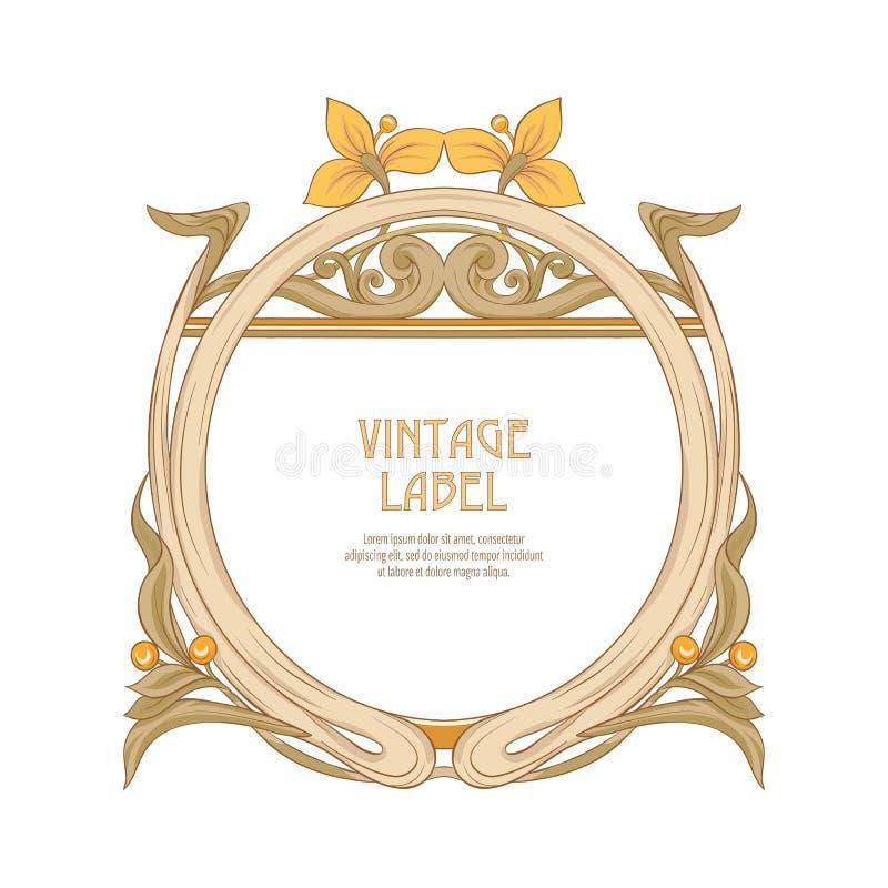 Ετικέτα για τα προϊόντα ή τα καλλυντικά στο ύφος nouveau τέχνης, εκλεκτής ποιότητας, παλαιό, αναδρομικό ύφος ν απεικόνιση αποθεμάτων