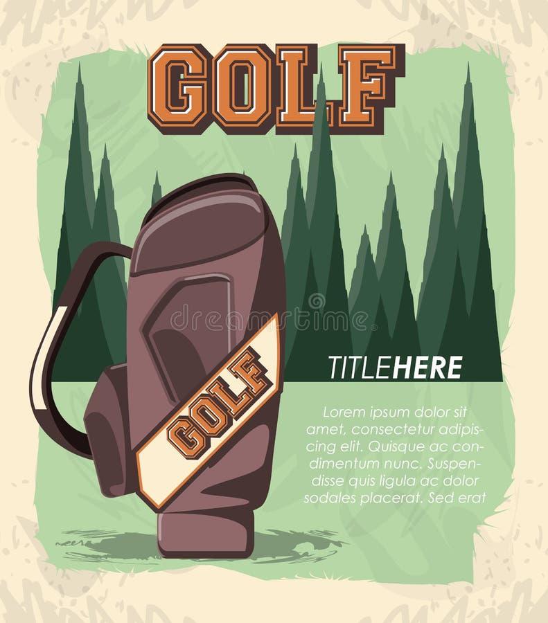 Ετικέτα γκολφ κλαμπ με τη caddy τσάντα απεικόνιση αποθεμάτων