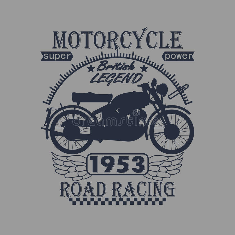 Ετικέτα γραφικής παράστασης τυπογραφίας αγώνα μοτοσικλετών Τ απεικόνιση αποθεμάτων