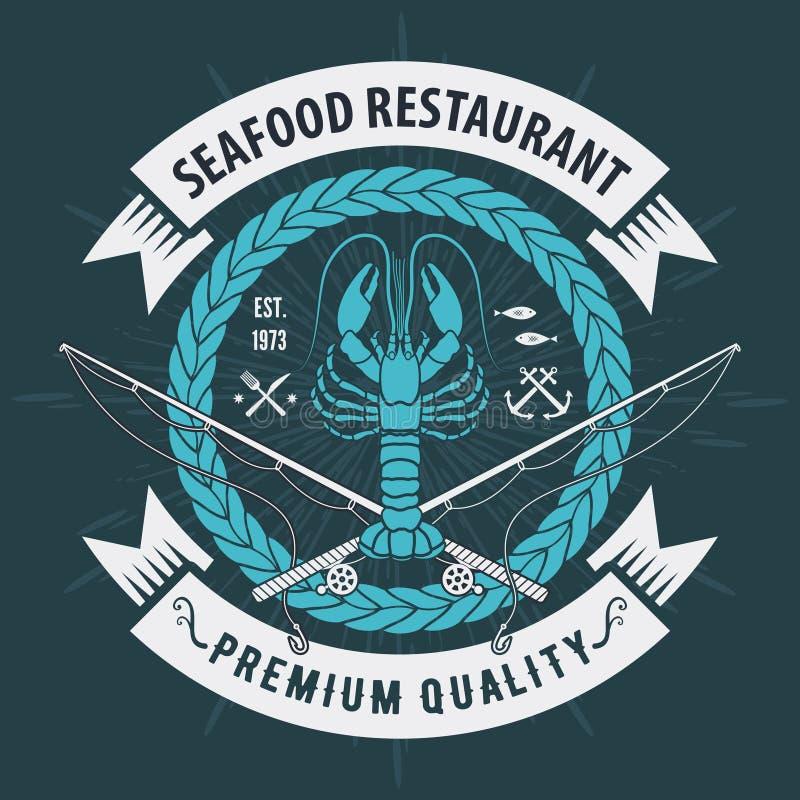 Ετικέτα, διακριτικό, έμβλημα ή λογότυπο θαλασσινών για το εστιατόριο θαλασσινών, στοιχείο σχεδίου επιλογών r απεικόνιση αποθεμάτων