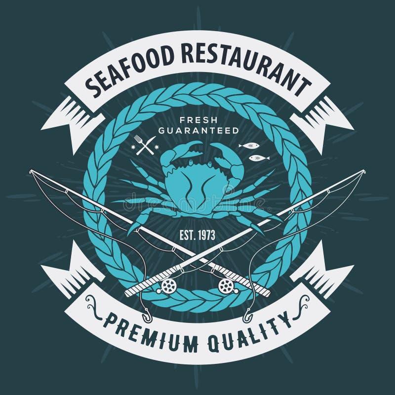 Ετικέτα, διακριτικό, έμβλημα ή λογότυπο θαλασσινών για το εστιατόριο θαλασσινών, στοιχείο σχεδίου επιλογών r διανυσματική απεικόνιση