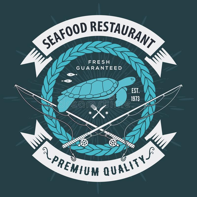 Ετικέτα, διακριτικό, έμβλημα ή λογότυπο θαλασσινών για το εστιατόριο θαλασσινών, στοιχείο σχεδίου επιλογών r ελεύθερη απεικόνιση δικαιώματος