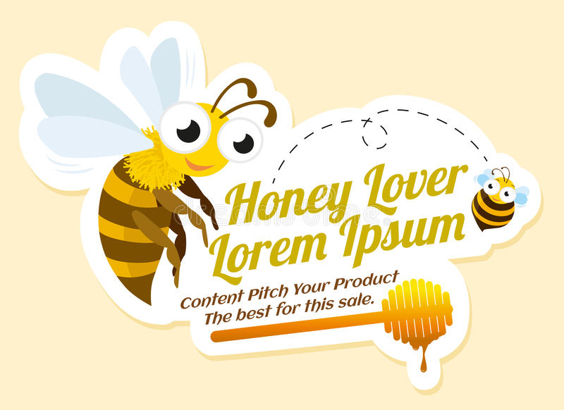 Ετικέτα εραστών μελιού με τις μέλισσες διανυσματική απεικόνιση