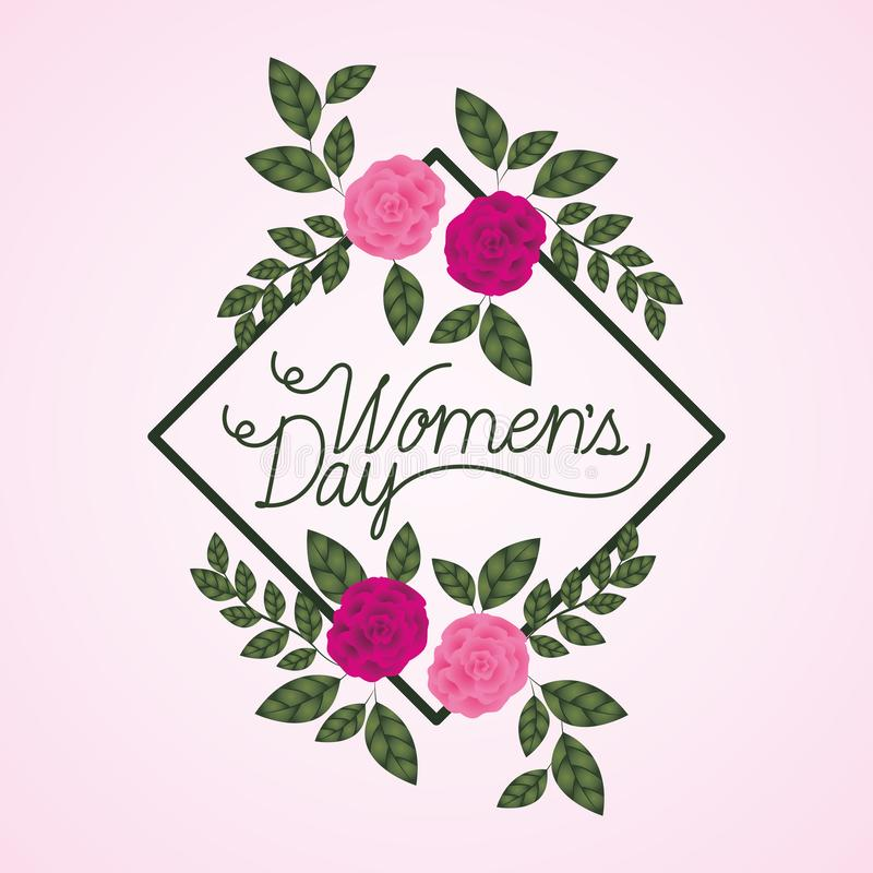 Ετικέτα ημέρας γυναικών με τα τριαντάφυλλα απεικόνιση αποθεμάτων