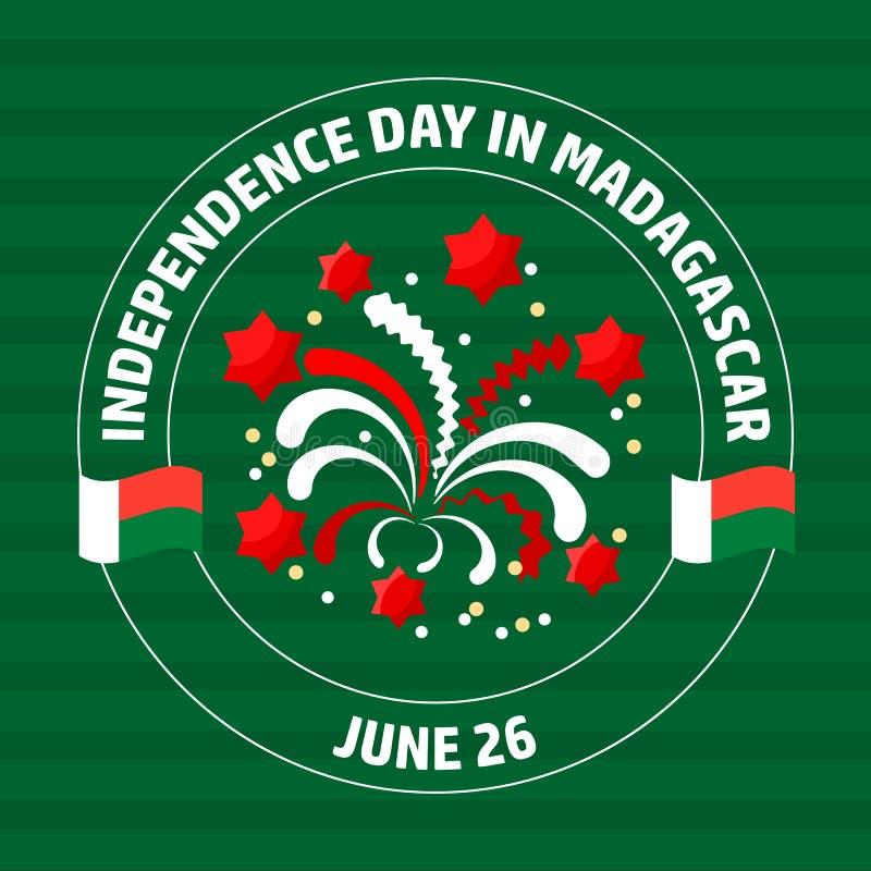 Ετικέτα ημέρας της ανεξαρτησίας της Μαδαγασκάρης σε πράσινο διάνυσμα ελεύθερη απεικόνιση δικαιώματος