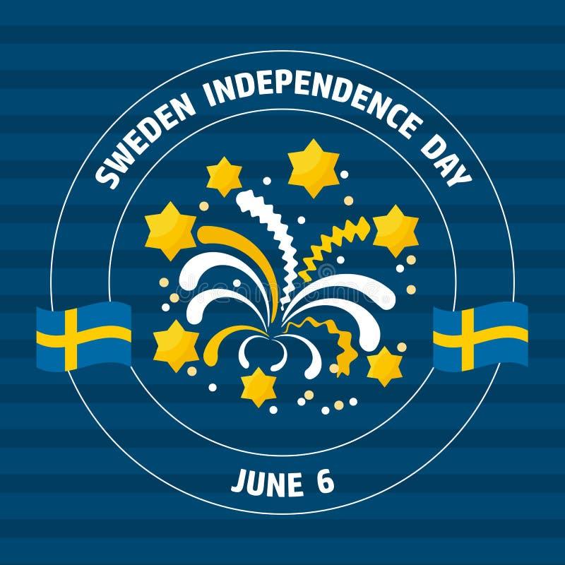 Ετικέτα ημέρας της ανεξαρτησίας της Σουηδίας στο μπλε επίσης corel σύρετε το διάνυσμα απεικόνισης ελεύθερη απεικόνιση δικαιώματος