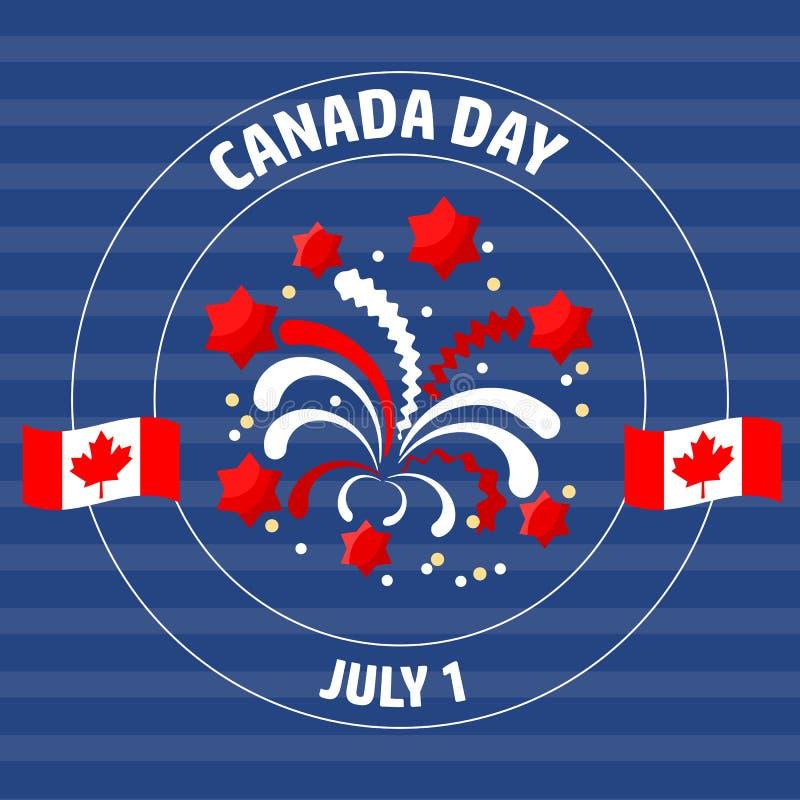 Ετικέτα ημέρας του Καναδά στο μπλε επίσης corel σύρετε το διάνυσμα απεικόνισης διανυσματική απεικόνιση