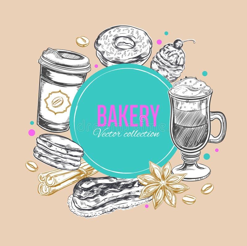 Ετικέτα 3 καφέ και αρτοποιείων διανυσματική απεικόνιση