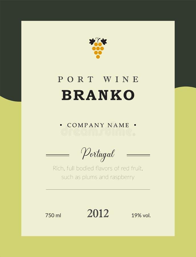 Ετικέτα κρασιού λιμένων Διανυσματικό σύνολο προτύπων ασφαλίστρου Καθαρό και σύγχρονο σχέδιο Branco και άσπρο κρασί Εθνικό πορτογα διανυσματική απεικόνιση