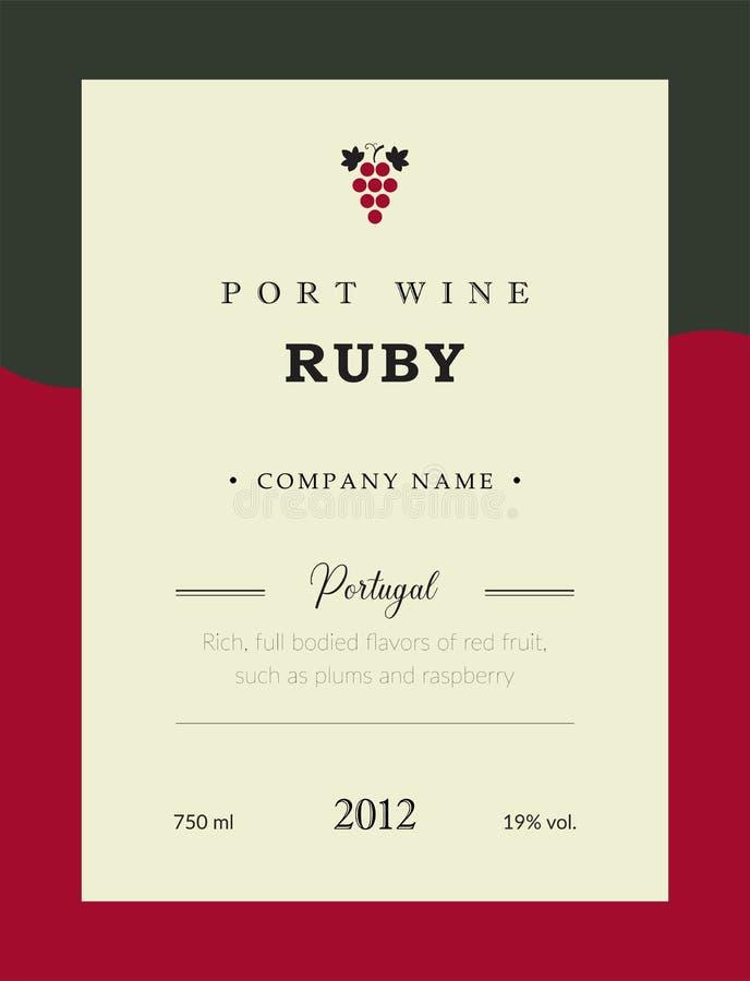 Ετικέτα κρασιού λιμένων Διανυσματικό σύνολο προτύπων ασφαλίστρου Καθαρό και σύγχρονο σχέδιο Ροδοκόκκινο και κόκκινο κρασί Εθνικό  διανυσματική απεικόνιση