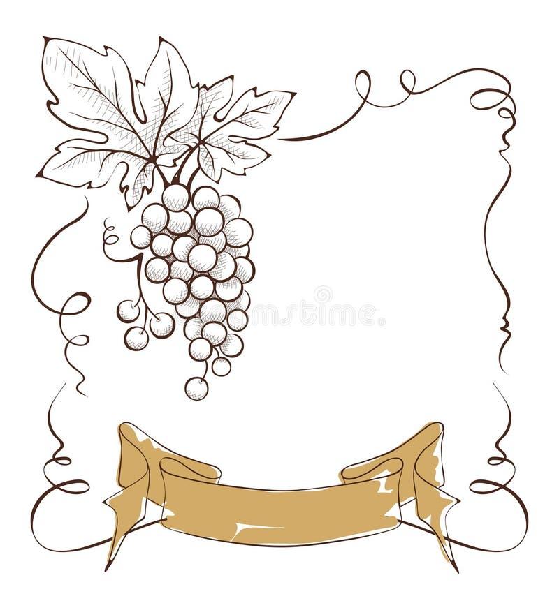 Ετικέτα κρασιού με μια δέσμη των σταφυλιών και της κορδέλλας απεικόνιση αποθεμάτων