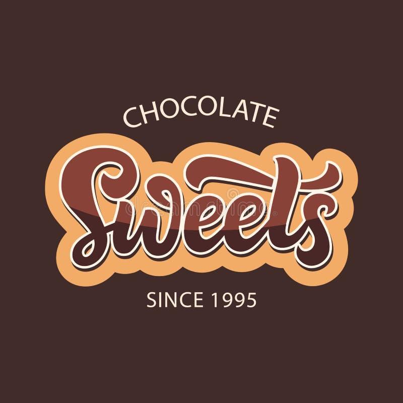 Ετικέτα λογότυπων καταστημάτων γλυκών σοκολάτας διανυσματική απεικόνιση