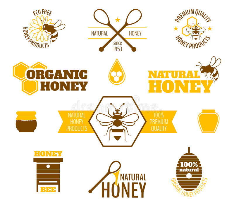 Ετικέτα μελιού μελισσών που χρωματίζεται διανυσματική απεικόνιση
