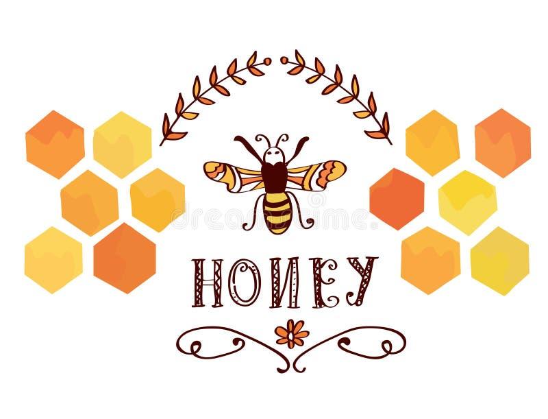 Ετικέτα μελιού με τη μέλισσα και τα κύτταρα - αστείος αναδρομικός ελεύθερη απεικόνιση δικαιώματος