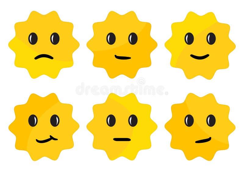 Ετικέτα με τις συγκινήσεις προσώπου, κίτρινες στρογγυλές αυτοκόλλητες ετικέττες r ελεύθερη απεικόνιση δικαιώματος