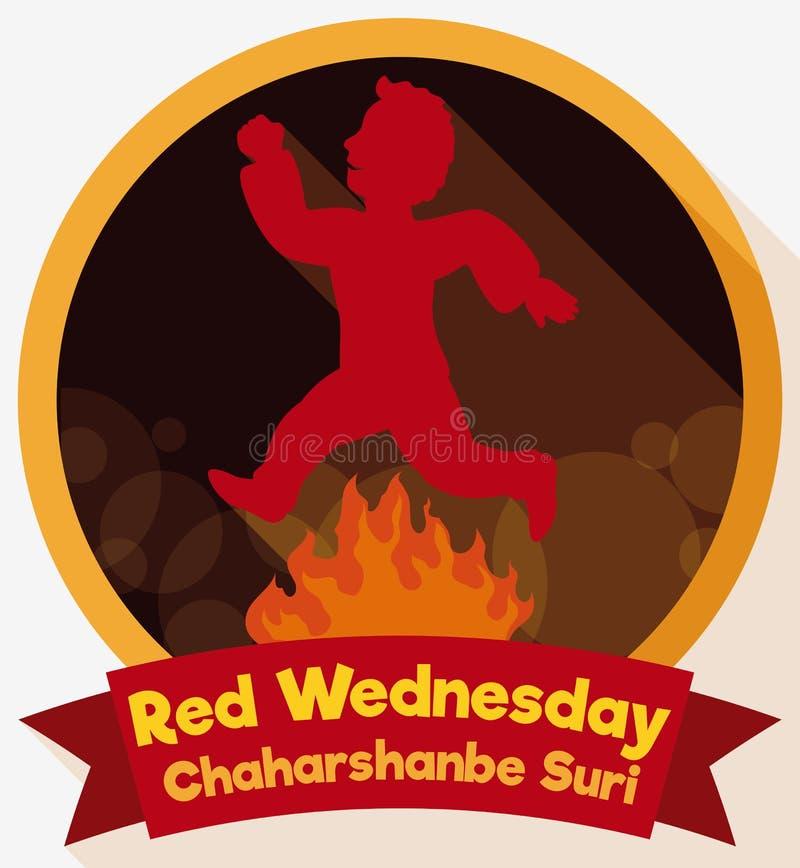 Ετικέτα με το άτομο που πηδά πέρα από την πυρκαγιά στην κόκκινη Τετάρτη, διανυσματική απεικόνιση ελεύθερη απεικόνιση δικαιώματος