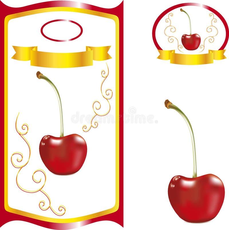 Ετικέτα με το κεράσι, γλυκό κεράσι για τη συσκευασία χυμού ελεύθερη απεικόνιση δικαιώματος