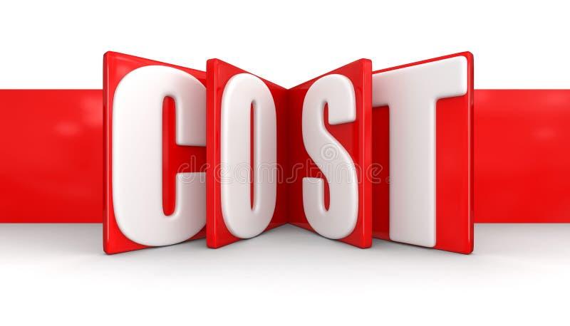 Ετικέτα με το κόστος (πορεία ψαλιδίσματος συμπεριλαμβανόμενη) απεικόνιση αποθεμάτων