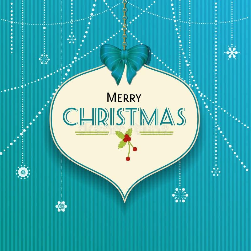 Ετικέτα μπιχλιμπιδιών Χριστουγέννων στην μπλε σύσταση ελεύθερη απεικόνιση δικαιώματος