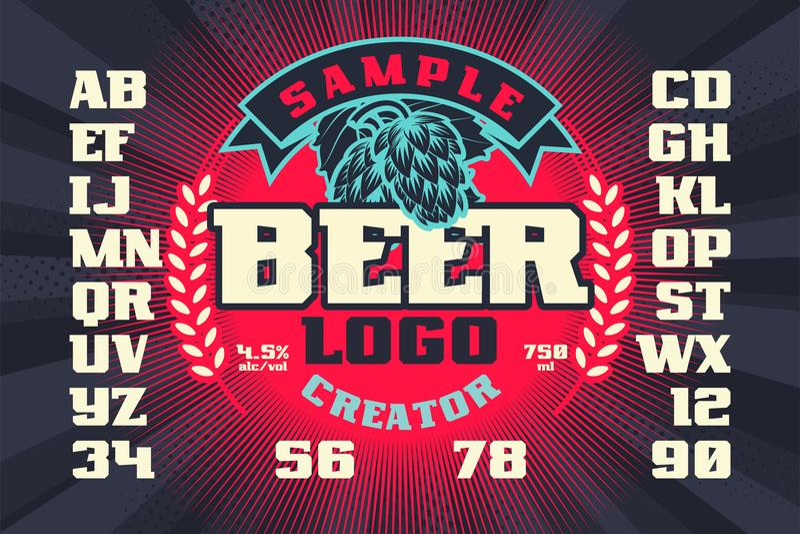 Ετικέτα μπύρας, δημιουργός λογότυπων ελεύθερη απεικόνιση δικαιώματος