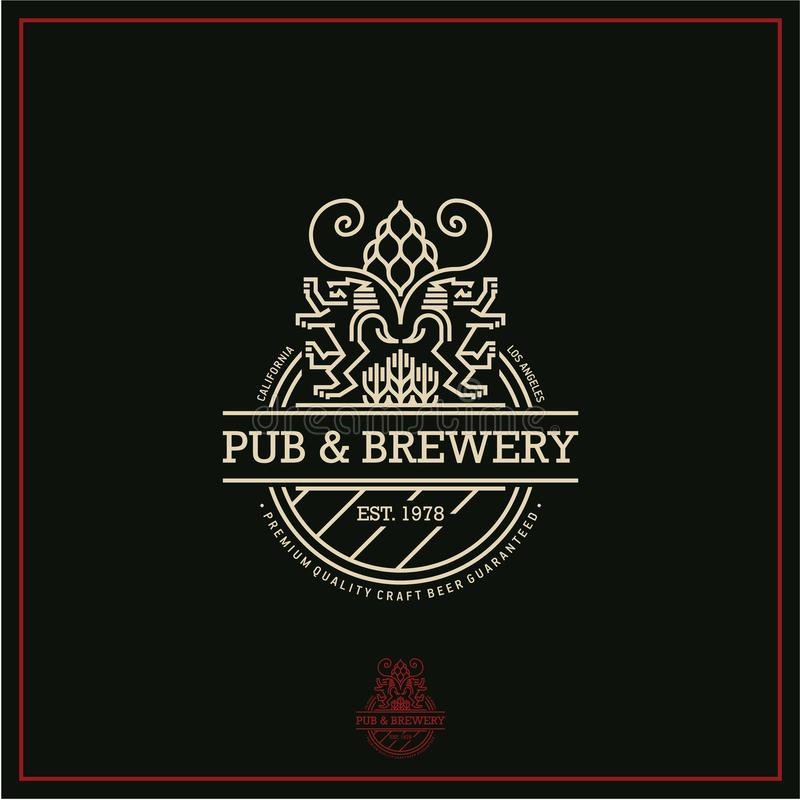 Ετικέτα μπύρας, λογότυπο μπύρας γραμμών, μπαρ και ζυθοποιείο διανυσματική απεικόνιση