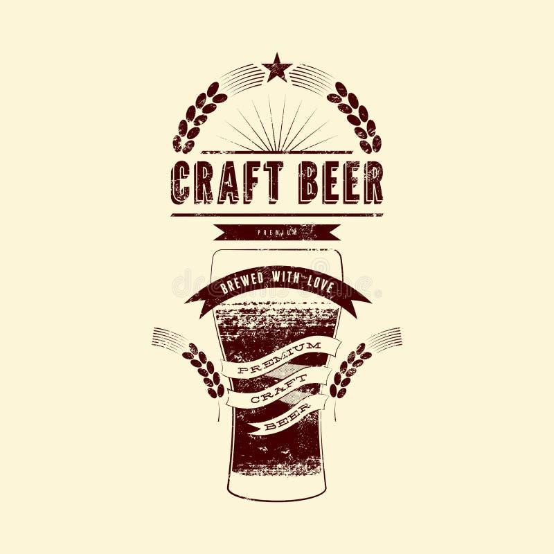 Ετικέτα μπύρας τεχνών Εκλεκτής ποιότητας αφίσα μπύρας ύφους grunge επίσης corel σύρετε το διάνυσμα απεικόνισης διανυσματική απεικόνιση