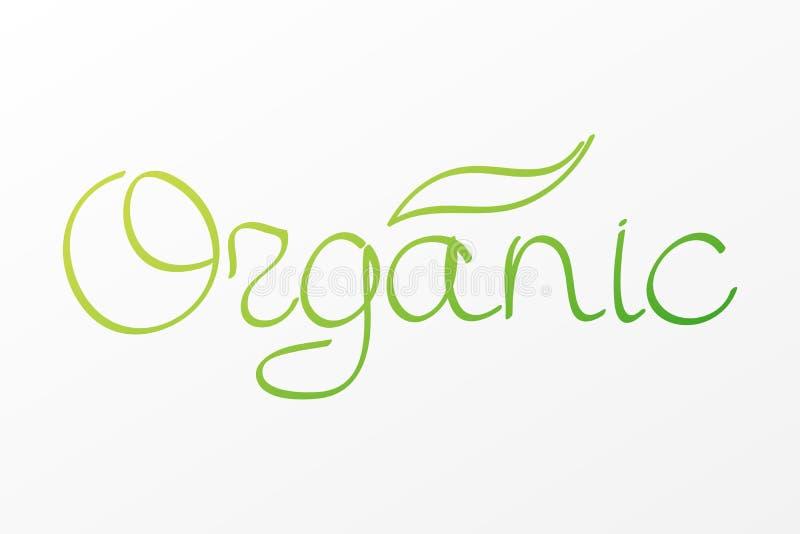 Ετικέτα οργανικής τροφής Συρμένο χέρι πράσινο διανυσματικό σημάδι Γράφοντας σύμβολο για την υγιή κατανάλωση, υγειονομική περίθαλψ απεικόνιση αποθεμάτων