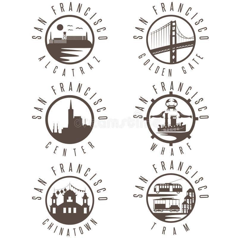 Ετικέτα που τίθεται ΗΠΑ με του Σαν Φρανσίσκο Καλιφόρνια, αποβάθρα απεικόνιση αποθεμάτων