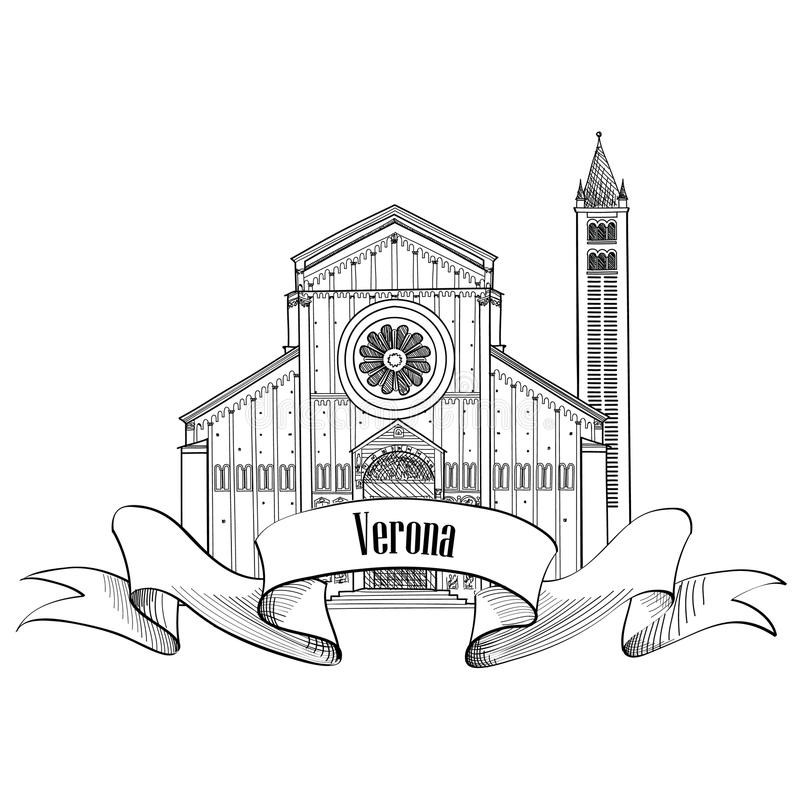 Ετικέτα πόλεων της Βερόνα Εικονίδιο της Ιταλίας ταξιδιού Διάσημο ιταλικό χτίζοντας SK ελεύθερη απεικόνιση δικαιώματος