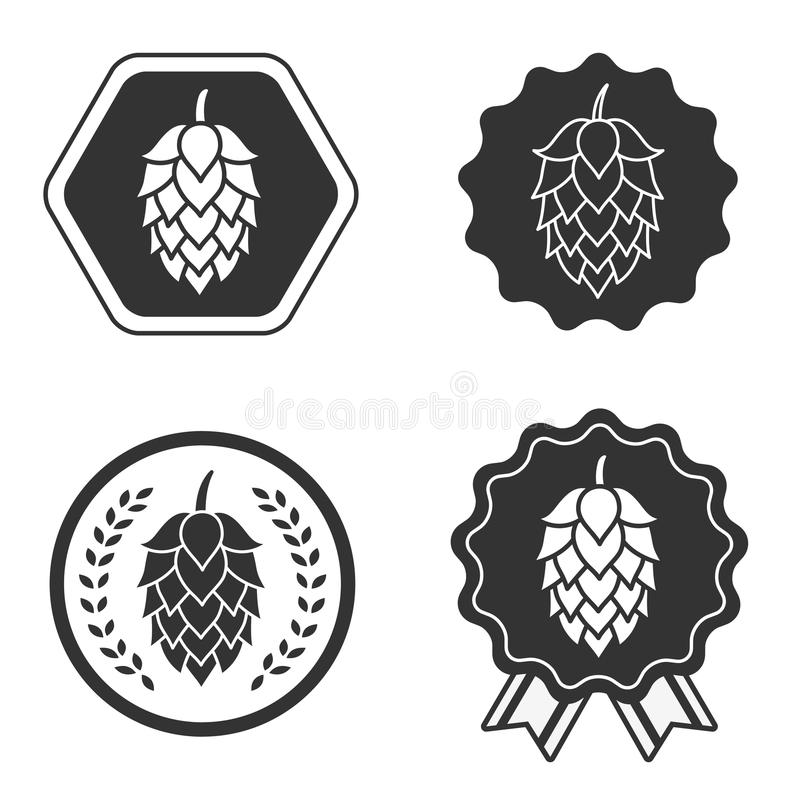 Ετικέτα συμβόλων σημαδιών μπύρας τεχνών λυκίσκου διανυσματική απεικόνιση