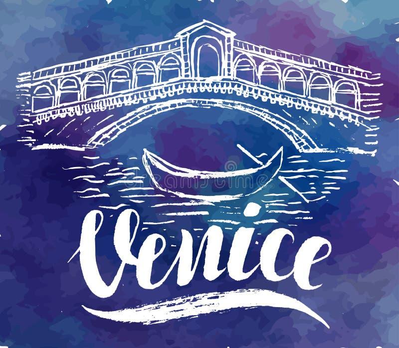 Ετικέτα της Βενετίας με το χέρι που σύρεται τη γέφυρα Rialto, γράφοντας Βενετία σε ένα υπόβαθρο watercolor απεικόνιση αποθεμάτων
