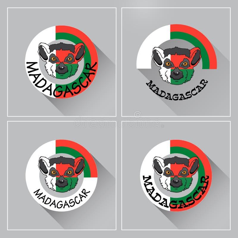 Ετικέτα της Μαδαγασκάρης Διανυσματική απεικόνιση με το κερκοπίθηκο εικονίδιο έμβλημα ελεύθερη απεικόνιση δικαιώματος