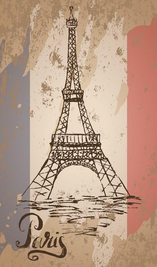 Ετικέτα του Παρισιού με συρμένο το χέρι πύργο του Άιφελ, το γράφοντας Παρίσι και τη γαλλική σημαία διανυσματική απεικόνιση