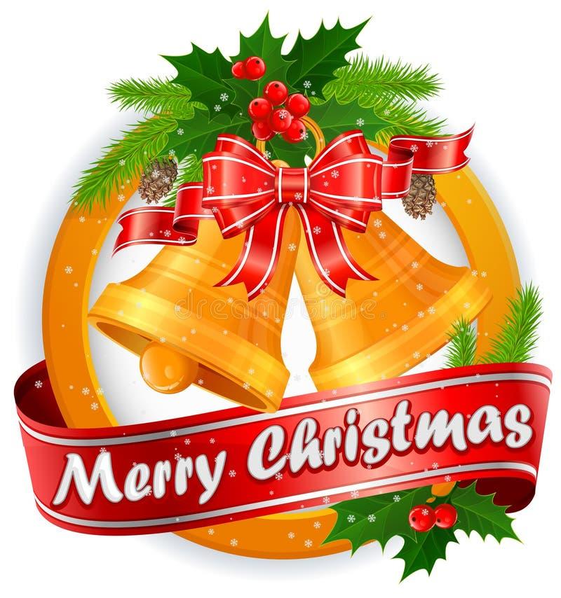 Ετικέτα Χριστουγέννων με τα κουδούνια & το κείμενο ελεύθερη απεικόνιση δικαιώματος