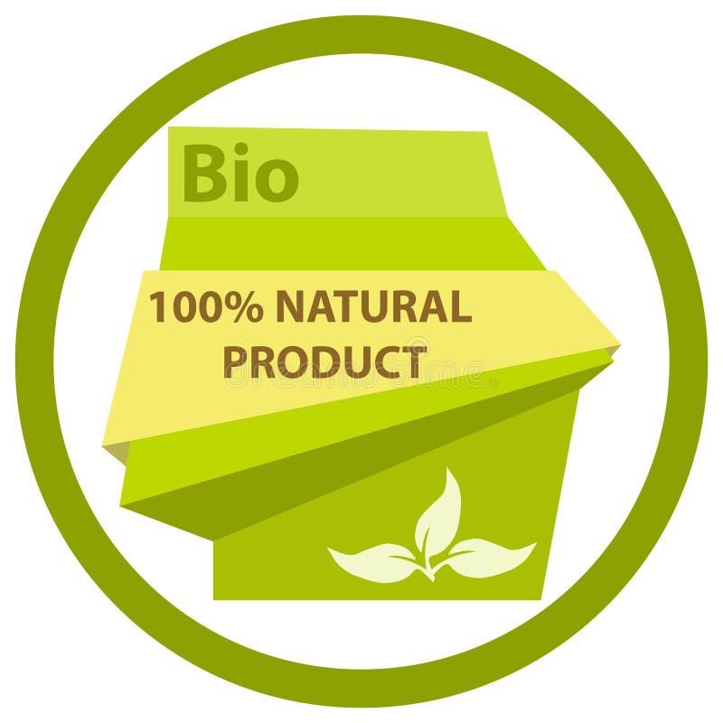 Ετικέτα bioproducts Πράσινη αυτοκόλλητη ετικέττα για τα φιλικά προς το περιβάλλον προϊόντα διανυσματική απεικόνιση