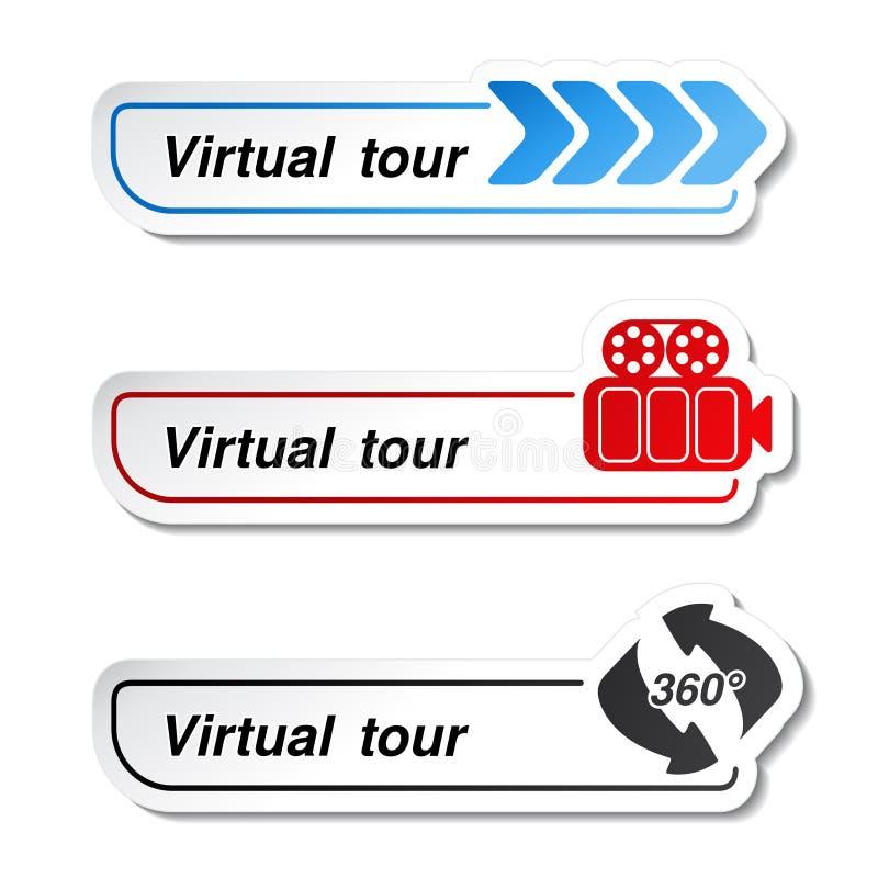 Ετικέτες - αυτοκόλλητες ετικέττες για τον εικονικό γύρο διανυσματική απεικόνιση