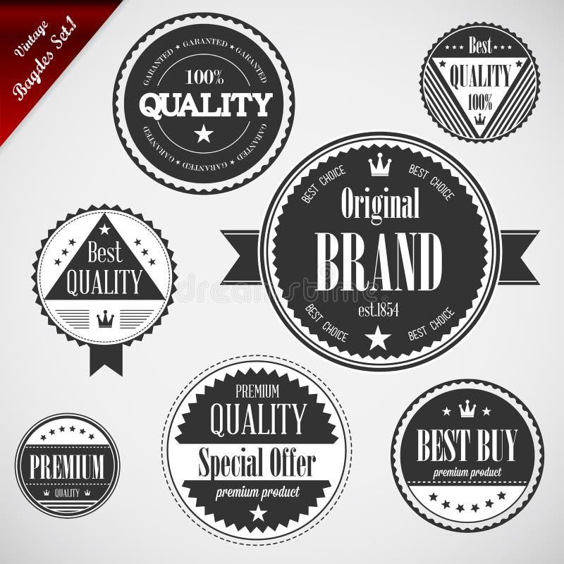 Ετικέτες εξαιρετικής ποιότητας με το αναδρομικό εκλεκτής ποιότητας σχέδιο απεικόνιση αποθεμάτων