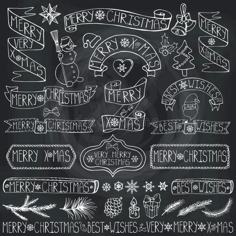 Ετικέτες διακοσμήσεων Χριστουγέννων, κορδέλλες, εγγραφή chalkboard διανυσματική απεικόνιση