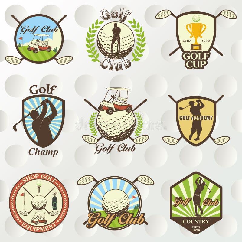 Ετικέτες, διακριτικά και εμβλήματα γκολφ διανυσματική απεικόνιση