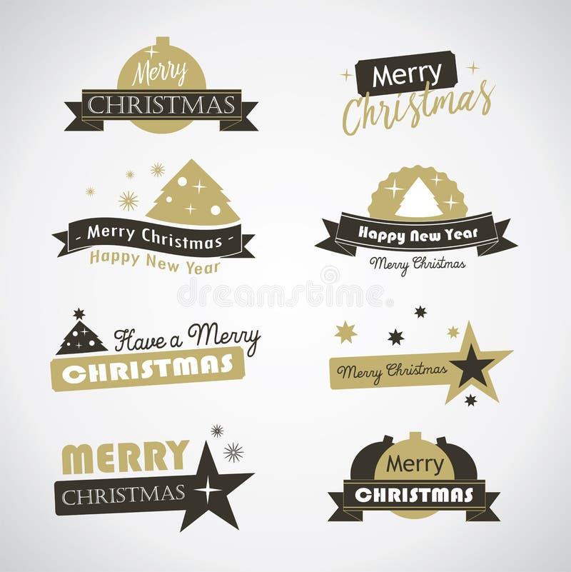 Ετικέτες και έμβλημα Χριστουγέννων απεικόνιση αποθεμάτων