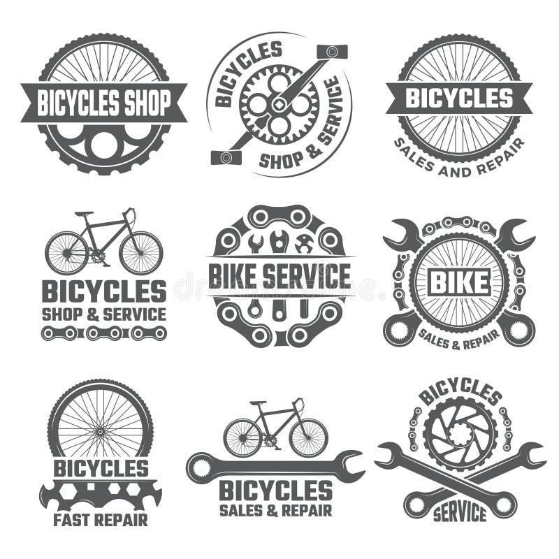 Ετικέτες και αθλητικά λογότυπα που τίθενται με τα μέρη του ποδηλάτου απεικόνιση αποθεμάτων
