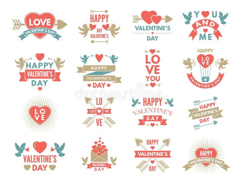 Ετικέτες και σύμβολα των αγαπών Εικόνες ημέρας βαλεντίνων του ST για το σχέδιο λευκώματος αποκομμάτων διανυσματική απεικόνιση