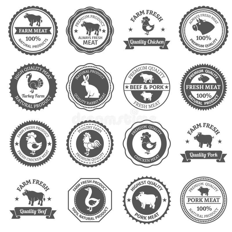 Ετικέτες κρέατος καθορισμένες διανυσματική απεικόνιση