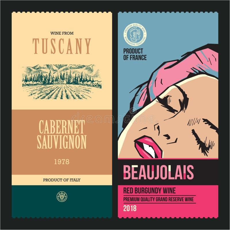Ετικέτες κρασιού Αμπελώνας σχεδίων Σύγχρονο πρότυπο σχεδίου ετικετών κρασιού Λαϊκή γυναίκα τέχνης στοκ φωτογραφίες