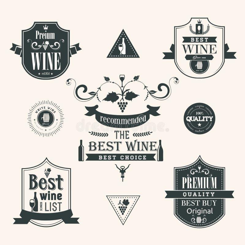 Ετικέτες κρασιού καθορισμένες ελεύθερη απεικόνιση δικαιώματος
