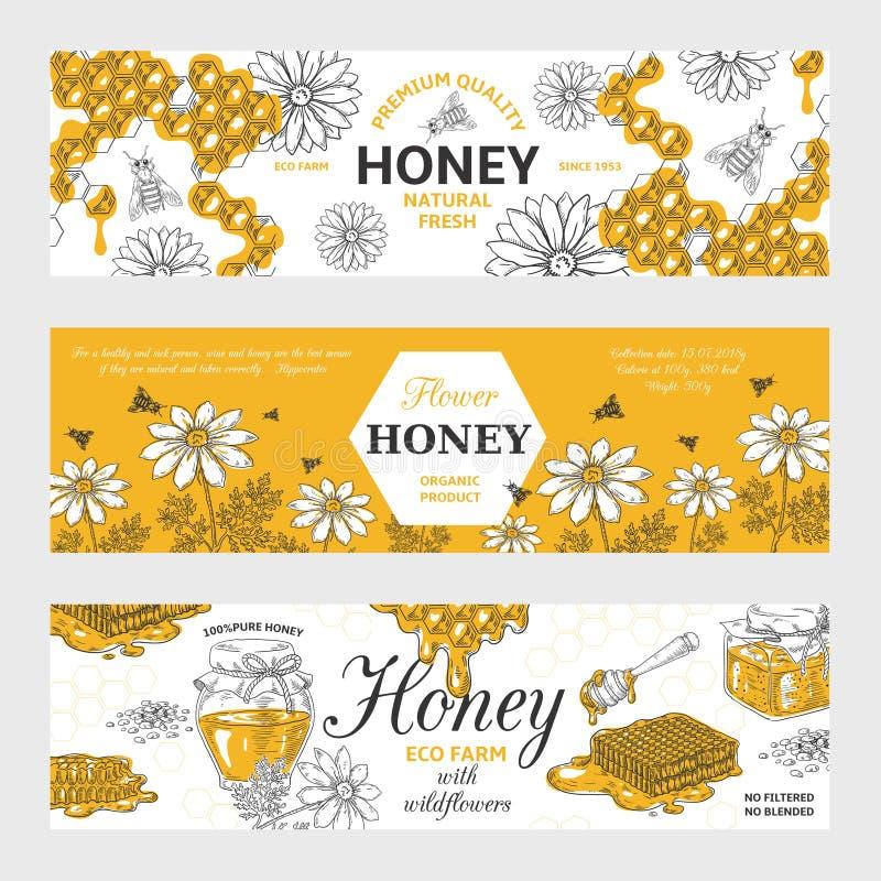 Ετικέτες μελιού Υπόβαθρο κηρηθρών και εκλεκτής ποιότητας σκίτσων μελισσών, συρμένο χέρι αναδρομικό σχέδιο οργανικής τροφής Διανυσ ελεύθερη απεικόνιση δικαιώματος