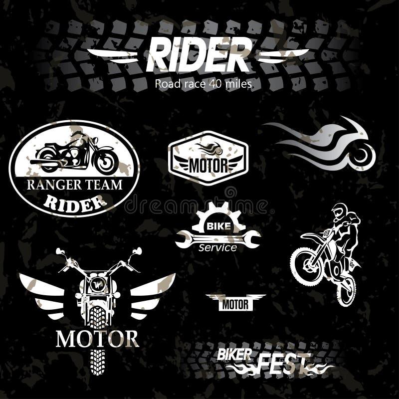 Ετικέτες μοτοσικλετών grunge διανυσματική απεικόνιση
